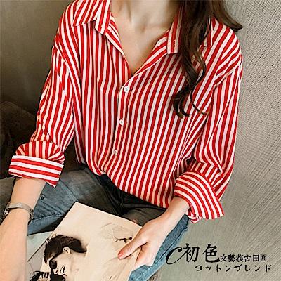 兩穿吊帶露肩條紋襯衫-共2色(M-2XL可選)    初色