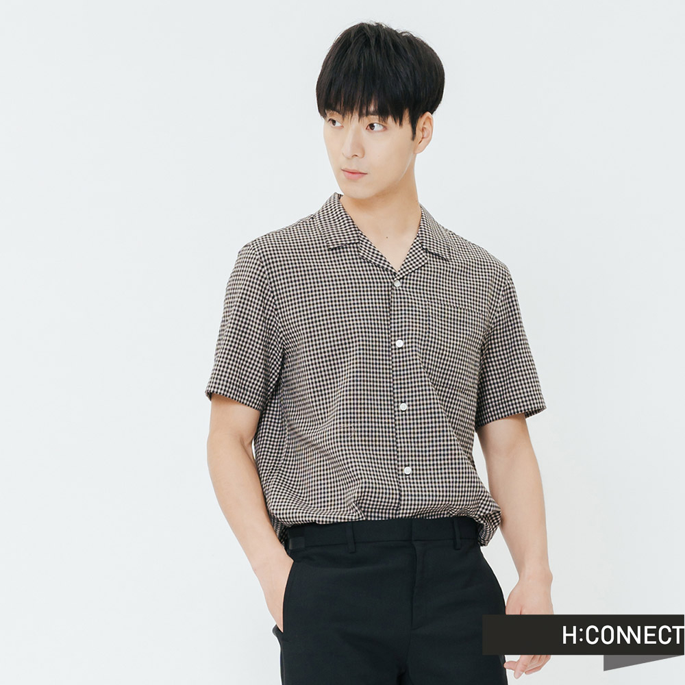 H:CONNECT 韓國品牌 男裝-復古格紋口袋襯衫-灰
