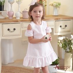Annys安妮公主-中小童粉嫩寶貝純棉舒適挖肩無荷葉邊袖洋裝*0538粉