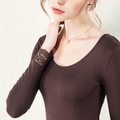 專注內搭-長袖T恤蕾絲袖口大碼基礎版大圓領內搭衫(二色S-3XL可選)