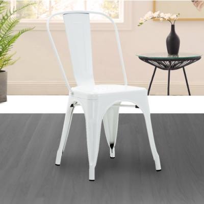 E-home Sidney希德尼工業風金屬高背餐椅 白色