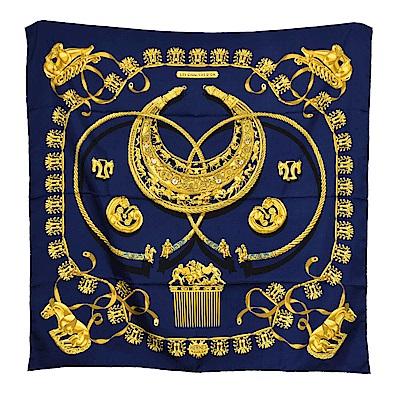HERMES Les Cavaliers d Or系列馬俱圖騰真絲方型披巾/圍巾(海軍藍)