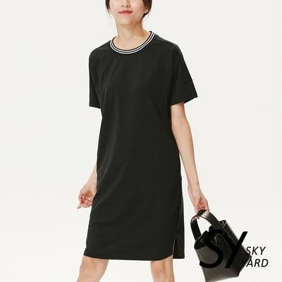 【SKY YARD 天空花園】螺紋領休閒洋裝-黑色