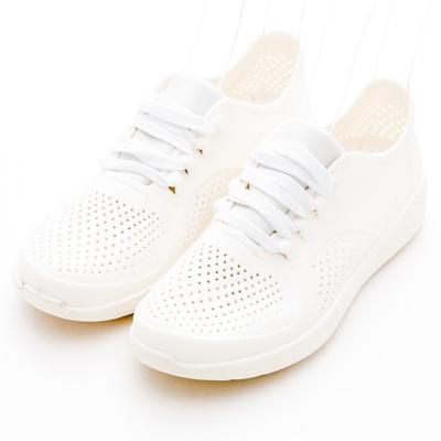 River&Moon防水鞋-樂活沖孔洞洞繫帶運動休閒鞋-白色