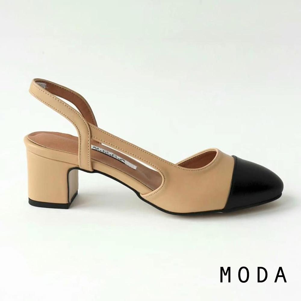 跟鞋 正韓圓楦頭雙色拼接縷空造型粗跟鞋(杏桃色) MODA