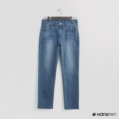 Hang Ten - 男裝 - 復古刷色微磨破牛仔長褲-深藍