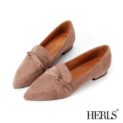 HERLS樂福鞋-內真皮扭結麂皮絨尖頭低跟鞋樂福鞋-可可色