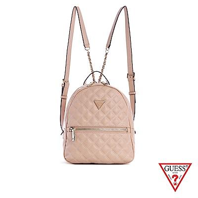 GUESS-女包-時尚菱格鍊條後背包-粉 原價3490
