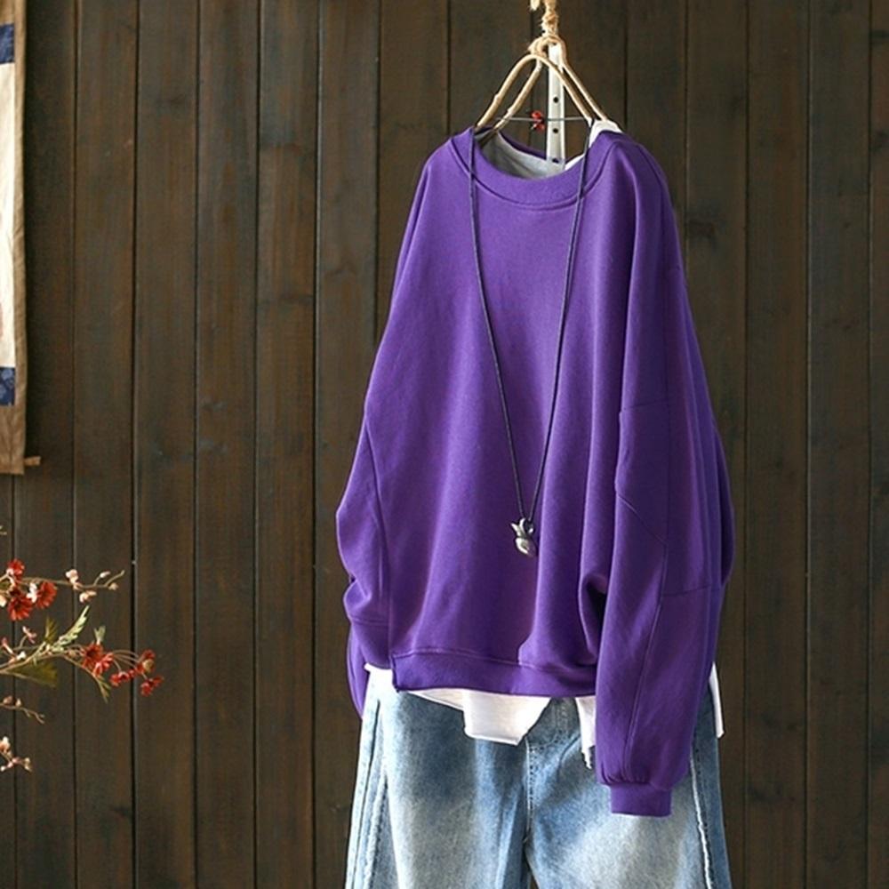 文藝純棉衛衣寬鬆拼接套頭衫休閒上衣-設計所在