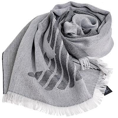 EMPORIO ARMANI 義大利製老鷹圖騰LOGO雙面配色造型圍巾(灰色系)