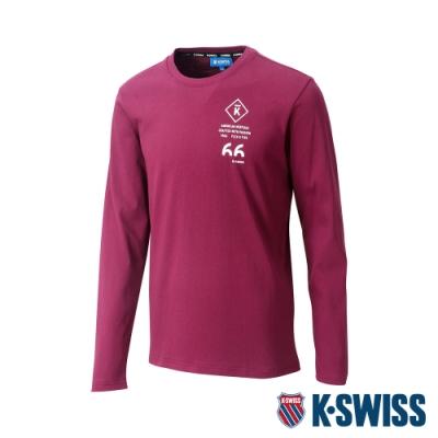K-SWISS Cotton 66 Logo Tee印花長袖T恤-男-深紅