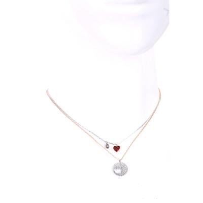 SWAROVSKI 施華洛世奇 水晶紅心組合金銀雙色項鍊