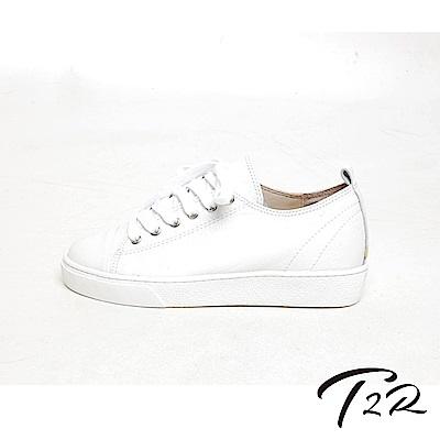 【T2R】正韓空運全真皮簡約綁帶休閒鞋-白-增高5公分