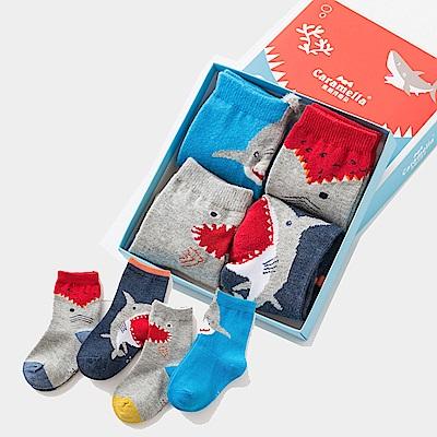 秋冬寶寶中筒卡通童襪4雙組-鯊魚咬咬