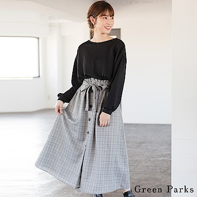Green Parks 素面拼接格紋腰綁帶洋裝