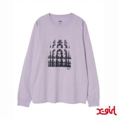 X-girl PSYCHEDELIC FACE L/S REGULAR TEE長袖T恤-紫