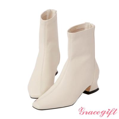 Grace gift-斜車線特殊中跟短靴 米白
