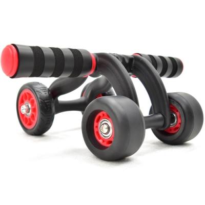 新款自動回彈四輪健美輪(送跪墊) 培林軸承4輪健腹輪