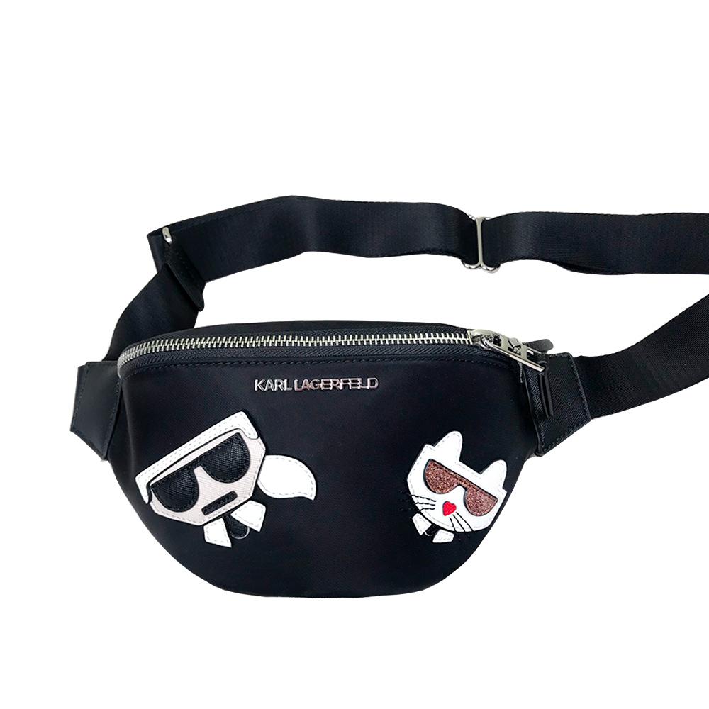 Karl Lagerfeld小香設計師 老佛爺Q版腰包/胸包/多功能包(黑)