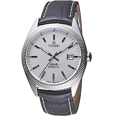 TITONI宇宙系列摩登經典機械腕錶(878S-ST-606)-黑皮