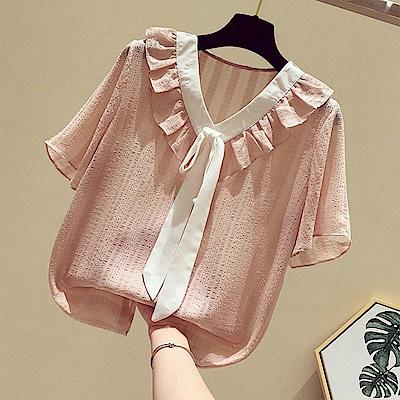 初色  荷葉領系帶氣質雪紡衫-共3色-(M-XL可選)