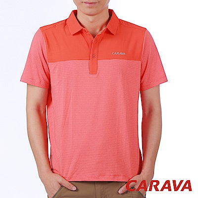CARAVA《男條紋排汗POLO衫》(岩漿紅)