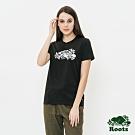 女裝ROOTS -海狸草寫logo短袖T恤-黑