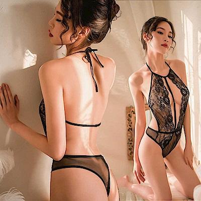 女睡衣-可開襠連身性感中線-EM衣柔魅姬 (黑色)