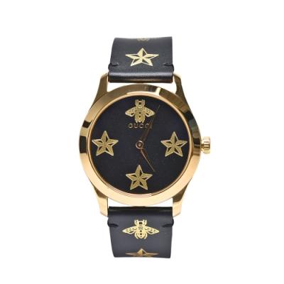 GUCCI 經典G-Timeless系列小蜜蜂皮革腕錶(金/黑38mm)