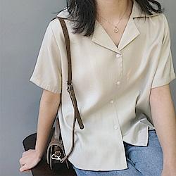 韓國空運 緞面光澤翻領襯衫-2色-TMH