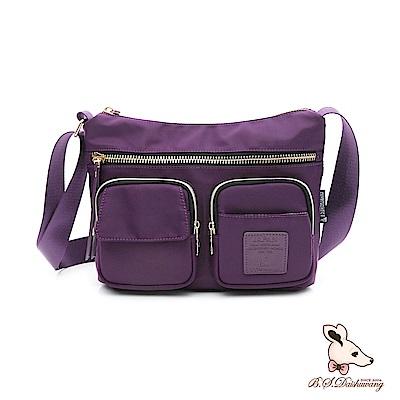 B.S.D.S冰山袋鼠 - 日系帆布 - 歐美簡約多夾層大拉鍊側背包 - 紫羅蘭