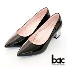 【bac】歐美簡約素雅尖頭透明配色粗跟高跟鞋-黑