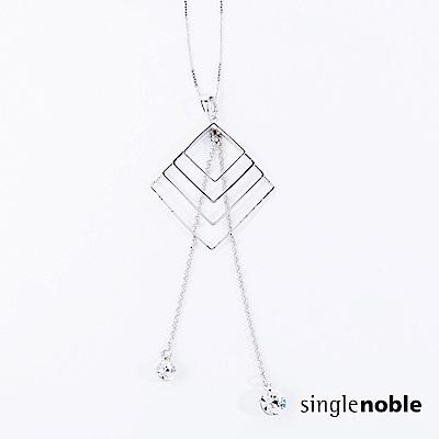 獨身貴族 簡約幾何線條水晶墜飾項鍊(1色)