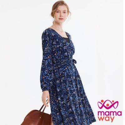 【mamaway 媽媽餵】襯衫式印花孕哺洋裝-兩穿(深藍)