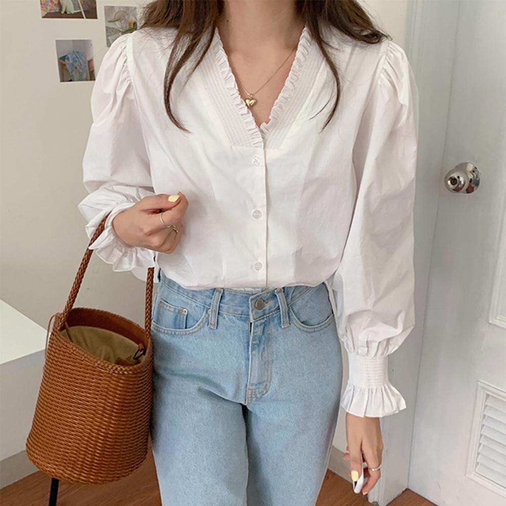 【KISSDIAMOND】甜美率性荷葉泡泡袖V領襯衫(時尚/潮流/KDT-9900/S-XL)