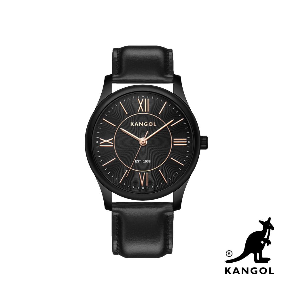 KANGOL 典雅羅馬時標腕錶38mm真皮錶帶(黑)-黑曜石框 KG71338