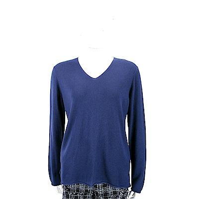 Andre Maurice 喀什米爾藍紫色V領捲邊細節羊毛衫