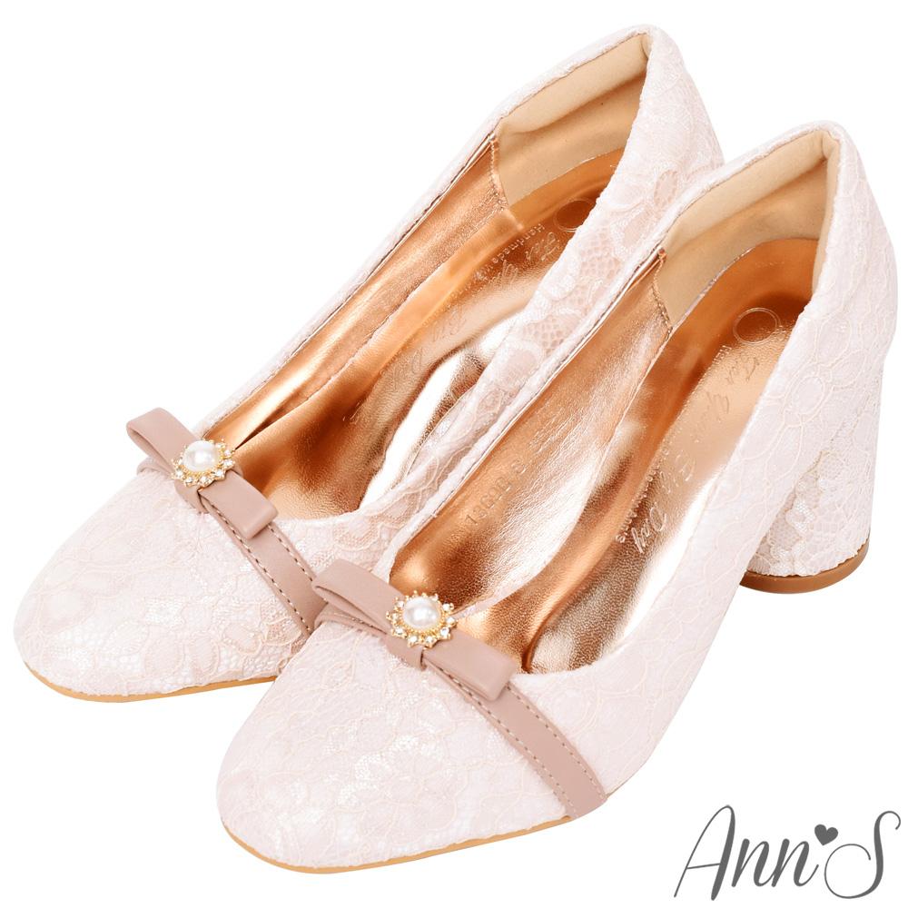 Ann'S優雅法式-蕾絲蝴蝶結珍珠高跟婚鞋-粉