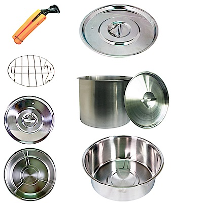 天蠶露營廚房兩用304不鏽鋼超值鍋組B(雞精筒+10人份內鍋)
