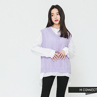 H:CONNECT 韓國品牌 女裝-半開襟純色麻料襯衫-白