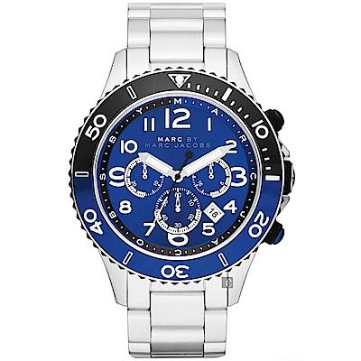 Marc Jacobs Rock 搖滾魅力計時手錶(MBM5055)-藍x銀/46mm