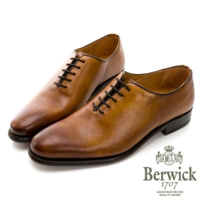BERWICK西班牙進口-固特異工藝WHOLE CUT 全裁片極簡牛津鞋 -棕 635034KM