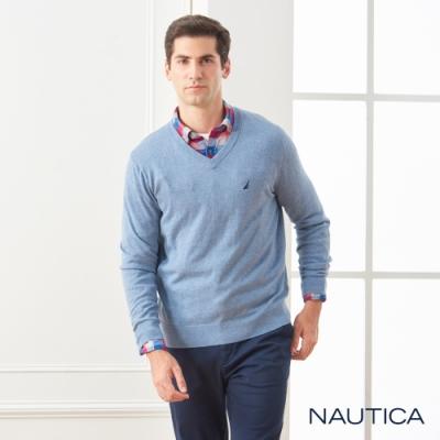 Nautica經典款素色長袖細針織衫-藍色