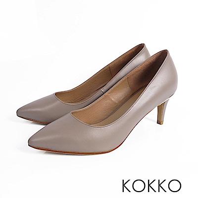 KOKKO - 風華再現素面尖頭高跟鞋- 高雅灰
