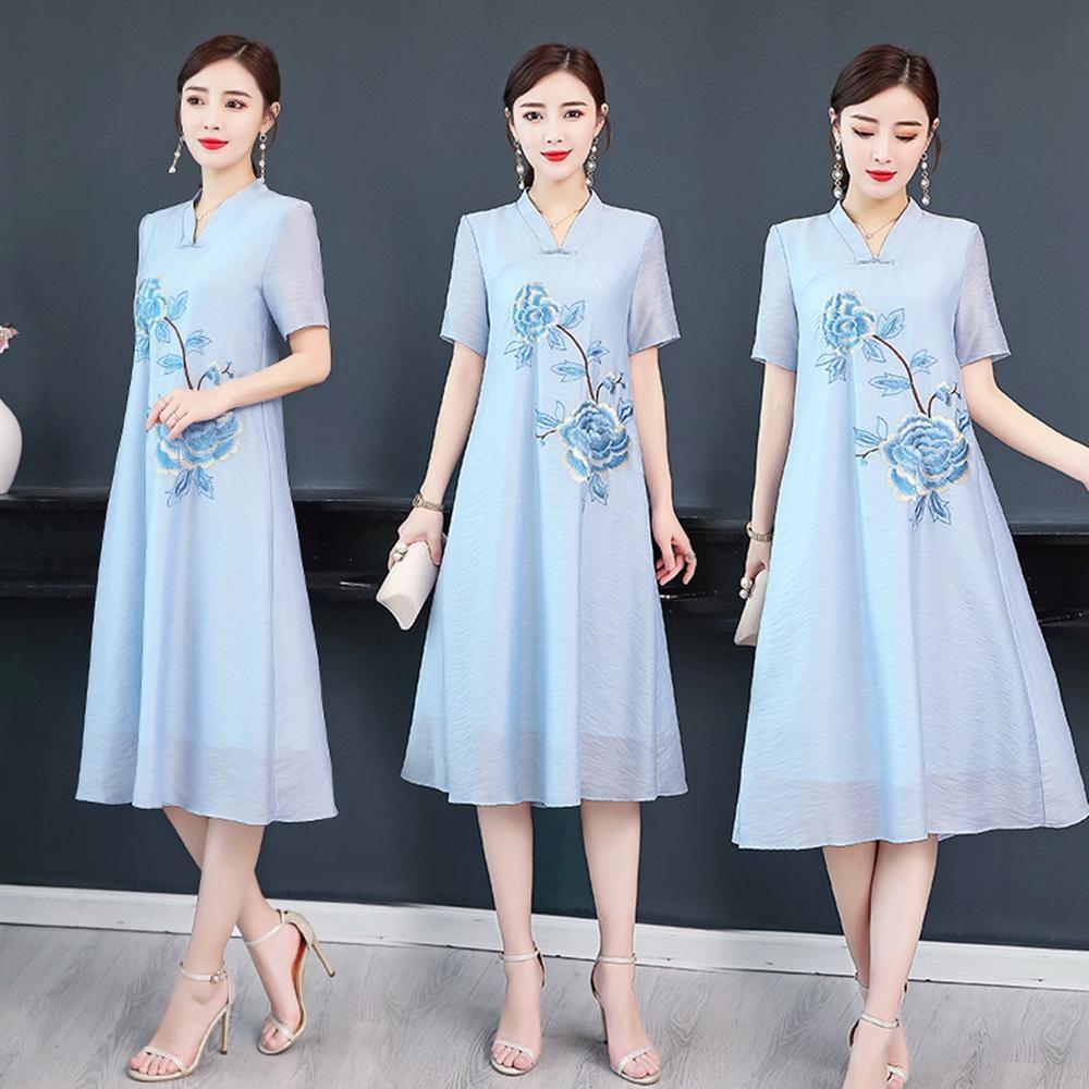富貴典雅貴氣刺繡花朵中式改良旗袍M-3XL(共二色)REKO