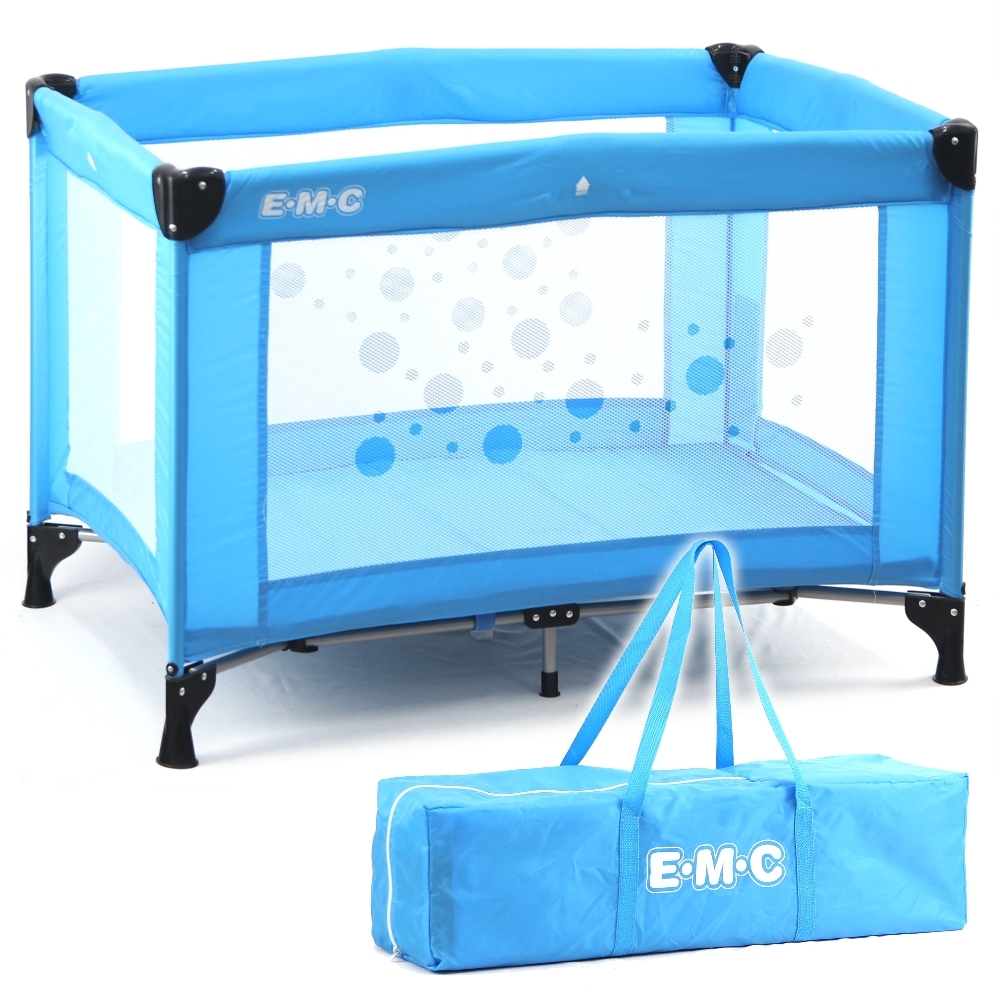 EMC 輕巧型安全嬰兒床(具遊戲功能)(藍色)