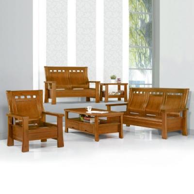 MUNA 499型淺胡桃色實木組椅(全組)(附坐墊)  192X79X100cm