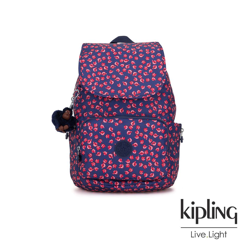 Kipling 古典茜紅小花掀蓋拉鍊後背包-CAYENNE