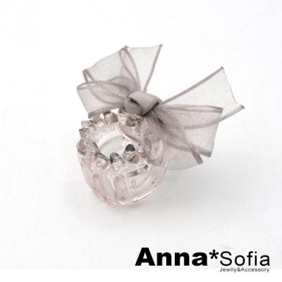 【3件480】AnnaSofia 彩晶紗結 迷你小髮抓髮夾(灰系)