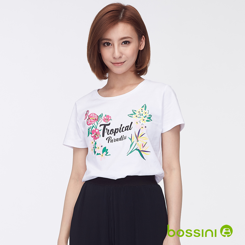 bossini女裝-印花短袖T恤26白